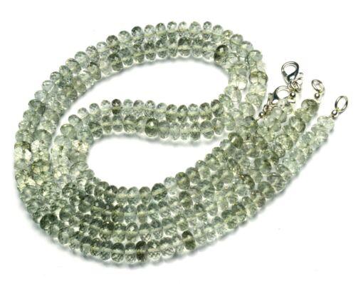 "Natural Gemstone Prasiolite 6.5MM Size Faceted Rondelle Beads 16"" Necklace"