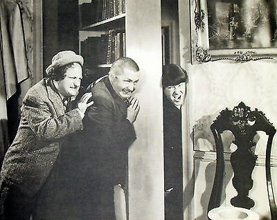 """1930S/40S THREE STOOGES CURLY MOE LARRY 11X14"""" B&W PHOTO/PRINT/POSTER FREE S&H M"""