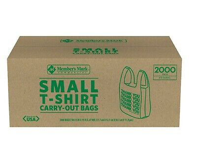 2000 Small T-shirt Carry Out Retail Plastic Bags Recyclable Store Shopping 2000