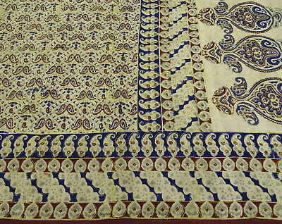 Vintage Paisley Printed Ethnic Saree Pure Silk Craft Used Fabric 5 Yard.-PS58451