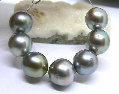 7 RARE METALLIC PEACOCK SILVER ROBERT WAN TAHITIAN SOUTH SEA PEARLS 8.5-9mm AAA