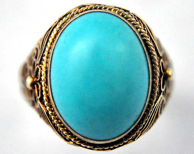 Vintage Chinese Large Natural Untreated Blue Sky Turquoise and Silver Ring