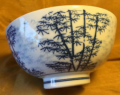 """Vtg Footed 6.25"""" Chinese Porcelain Bowl w Cobalt Blue Painted Bamboo Trees"""