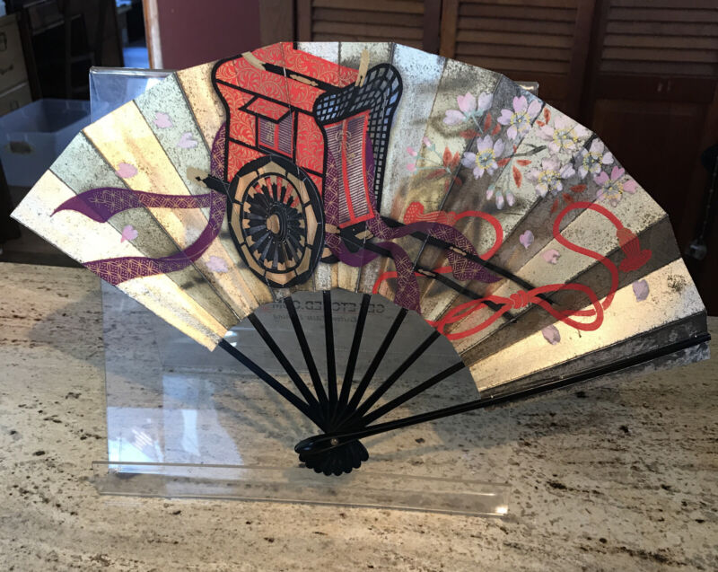 Japanese Folding Paper Fan Hand Painted 2 Sided Black Bamboo Cart,Leaves,Flowers