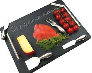 Slate Cheese Board set, Stainless Steel Handles & Cutlery [7 pc set], 16