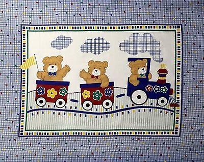 Teddy Bear choo choo Train Baby Quilt top Wall Panel Fabric 100% Cotton