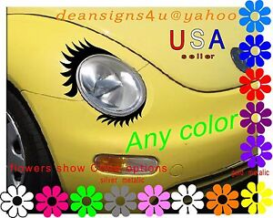 Eyelashes w/ Lowers for car headlight Volkswagen light decal VW Mini Cooper USA