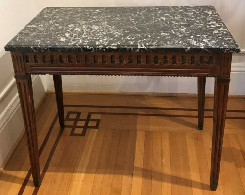 Rectangular Console Side Table. French 18th Century. Fruit wood Marble Top