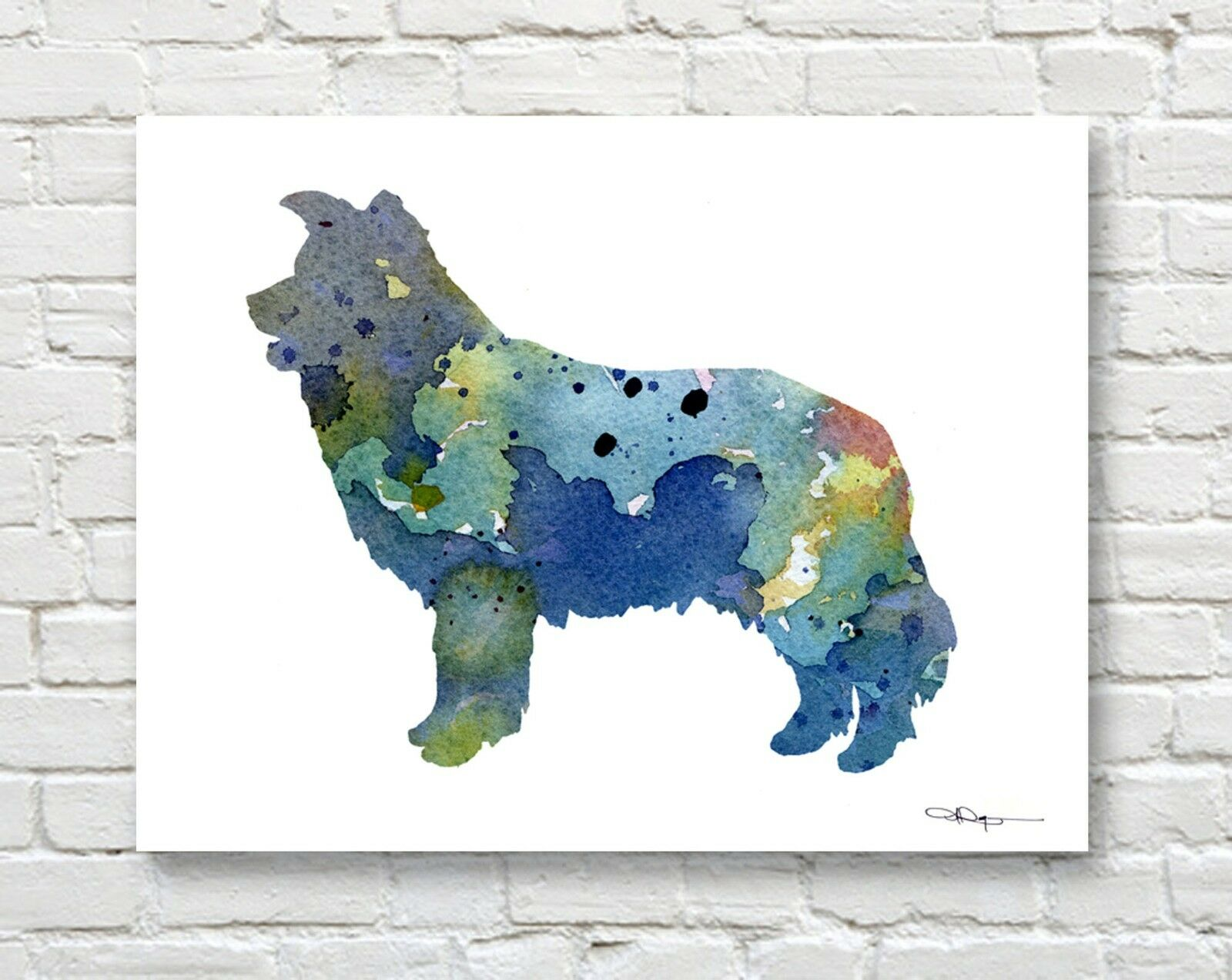 GOLDENDOODLE Contemporary Watercolor Abstract ART Print by Artist DJR
