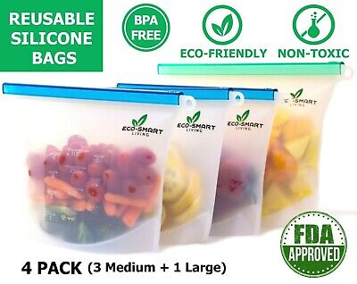 Reusable Silicone Food Storage Bags 4 Pcs LeakProof BPA Free Ecofriendly Contain
