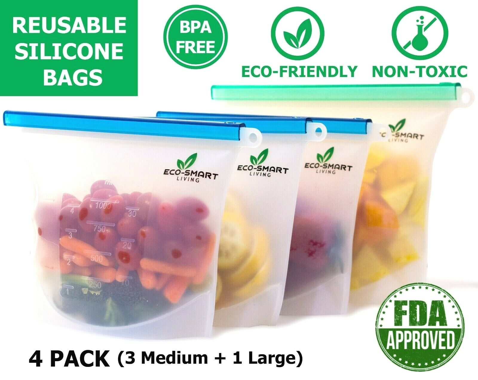 Reusable Silicone Food Storage Bags 4 Pcs LeakProof BPA Free