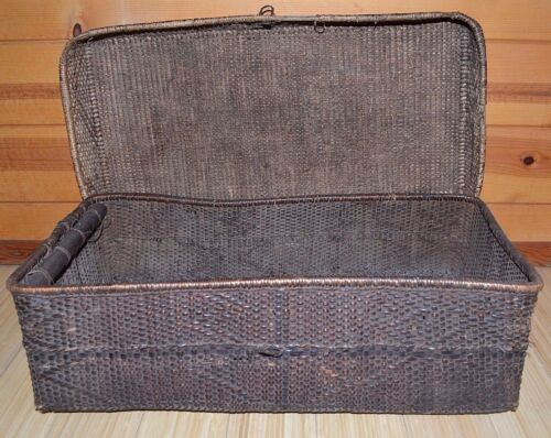 Antique Kuba Large Handwoven African Fiber Food Storage Basket Congo, Africa