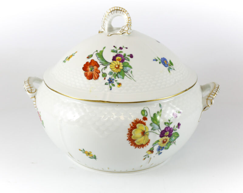 Bing & Grondahl Hand Painted Porcelain Saxon Flower Soup Tureen; Gilt & Floral