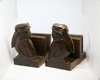 Vintage wooden rabbit carved book stopper/ends set