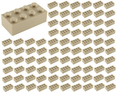 ☀️100 NEW LEGO 2x4 DARK TAN Bricks (ID 3001) BULK Parts star wars Harry Potter