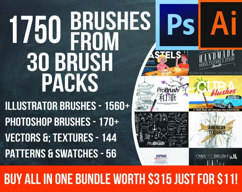 1750 Brushes Bundle. Illustrator Brushes, Photoshop Brushes. Digital Download!