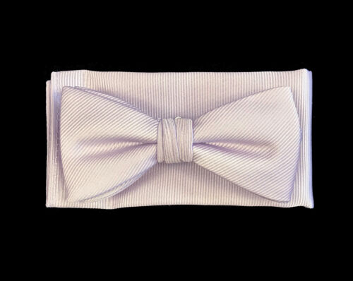 Boys Size Silver Purple Bow Tie and Pocket Square Pre-Tied Wedding Ring Bearer