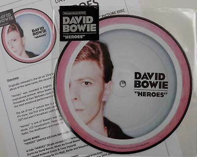 "DAVID BOWIE 7"" Heroes PICTURE DISC 40th Anniversary single / Live + Promo Sheet"