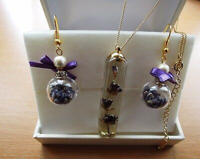 Handcraft Necklace & Pierced Earring Dried Lavender Filled Cotton pearl Set JPN