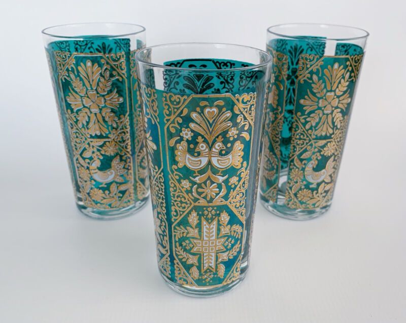 Vintage Mod MidCentury MCM Turquoise Gold Peacock Highball Glasses - Set Of 3