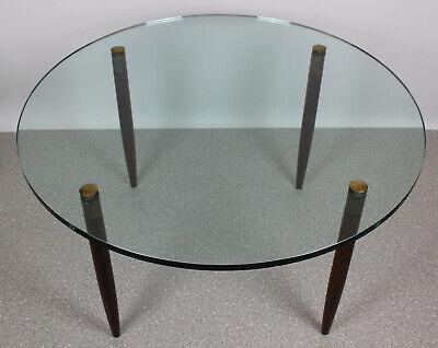 Glas Runde Sofa (50er Jahre Designer Couchtisch Glas, Messing & Holz Rund Italy? Sofatisch MCM )