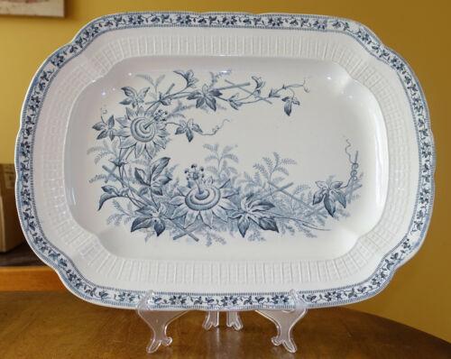 "Superb Large Antique Staffordshire Transferware Platter ""Lara"" Passion Fruit 18"""