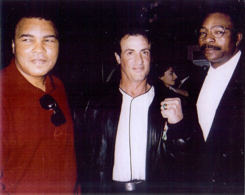 Rocky , Stallone with  Muhammad Ali & Carl Weathers  8x10 color  photo
