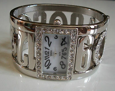 - DESIGNER SILVER FINISH STONES WITH NUMBERS WOMEN'S FASHION BANGLE CUFF WATCH