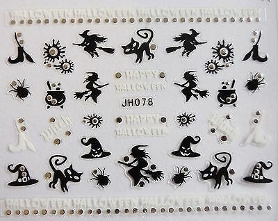Halloween 3D Nail Art Stickers Sparkly