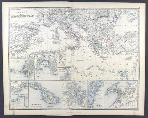 Antique Map Basin of Mediterranean c1869 Keith Johnston Royal Atlas Original