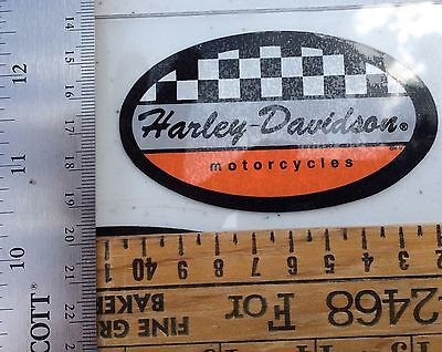 Harley-Davidson Checkered Racing Inside Window Decal. Vintage. 2 X 3.5. New!!!