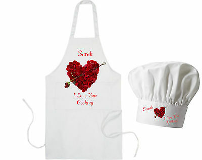 (Personalised Rose Heart Adults Apron & Chef's Hat Valentines GIFT for Cook BBQ)