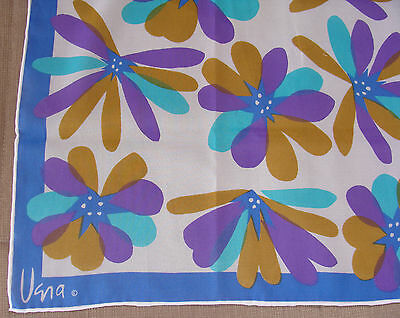 Vintage Vera Scarf Floral 100% Polyester Made In Japan 43 1/4 x 14 inches