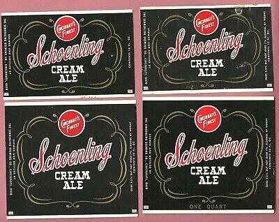 4 diff black Schoenling Cream Ale Beer label, non- IRTP, Cincinnati, Ohio