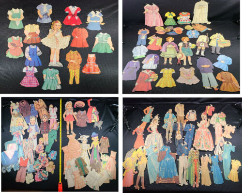"""1930s 40s Vintage Paper Dolls HUGE LOT ~10"""" Girls Shirley Temple Style Woman"""