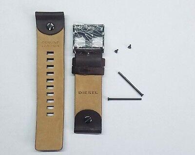 DIESEL 28 MM 100% ORIGINAL BROWN LEATHER STRAP WITH PINS DZ7126 WATCH MODEL NEW