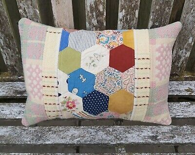 Welsh wool tapestry blanket + patchwork quilt cushion vintage upcycled - B