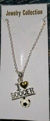 Silver with Gold Heart Soccer Ball Necklace (I Love SOCCER) New