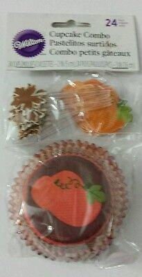 Wilton Fall Autumn Pumpkin Leaves Thanksgivings Combo 24 Pk Cupcake Liners Pics (Halloween Cupcake Pics)