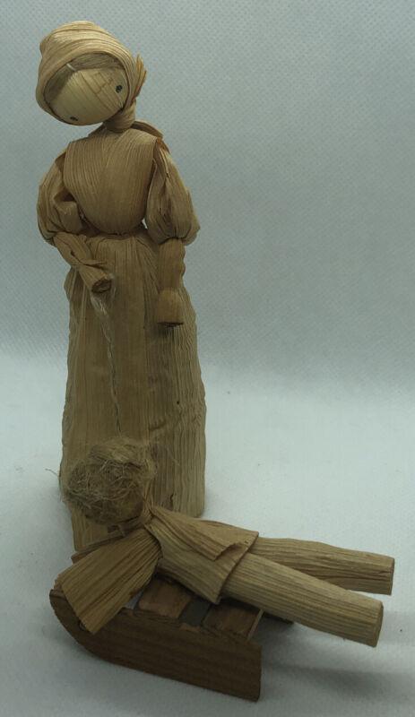 "Vintage Corn Husk Doll Handmade 5"" - Mother Pulling  Child On Sled"