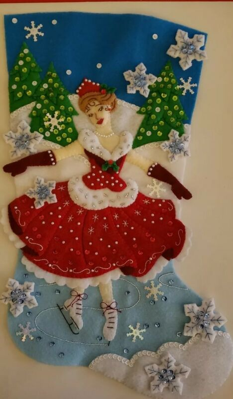 "Finished Bucilla ""Christmas Skate 18"" Christmas Stocking - Handstitched"