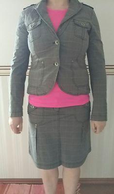 »Esprit Anzug/ Kostüm/ Kombination-Rock*Blazer*Hose« Gr.34/36/38, grau-kariert