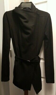 Helmut Lang Sonar Asymmetrical Wool Belted Cardigan Sweater Jacket Black Size Sm