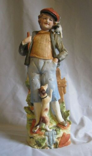 Antique German Bisque Porcelain Figurine Boy with Dog & Cat  Salesmans Sample