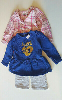 Toddler Girl 3 Pc Set Carter Shirt & Jumping Bear Outfit Plaid Top w/Pants 18mth