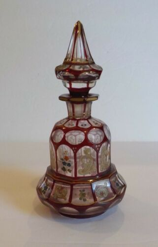19th C. Bohemian Ruby Cut-to-Clear Perfume / Scent Bottle