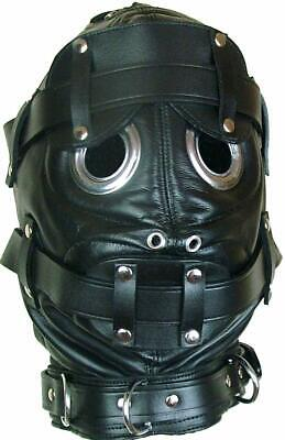 Genuine BLACK Cow LEATHER Bondage Hood Mask with Mouth Gag And -