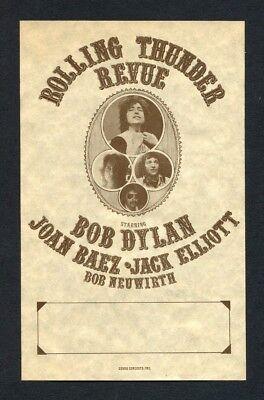 Bob Dylan 1975 Rolling Thunder Revue Concert Handbill Rare Joan Baez Elliott