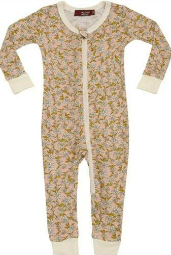 Milkbarn Bamboo Zipper Pajama Rose Floral 9-12 Months New WI