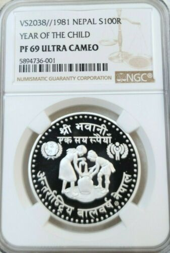 1981 NEPAL SILVER 100 RUPEE S100R YEAR OF THE CHILD NGC PF 69 ULTRA CAMEO VS2038